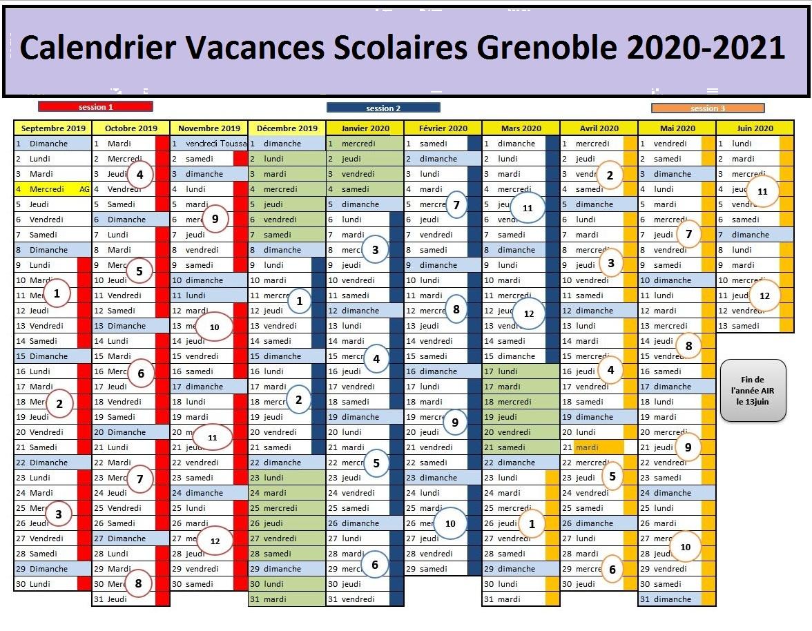 Calendrier Vacances Scolaires 2020 Zone Grenoble