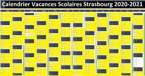 calendrier vacances scolaires Strasbourg 2020 et 2021 zone a