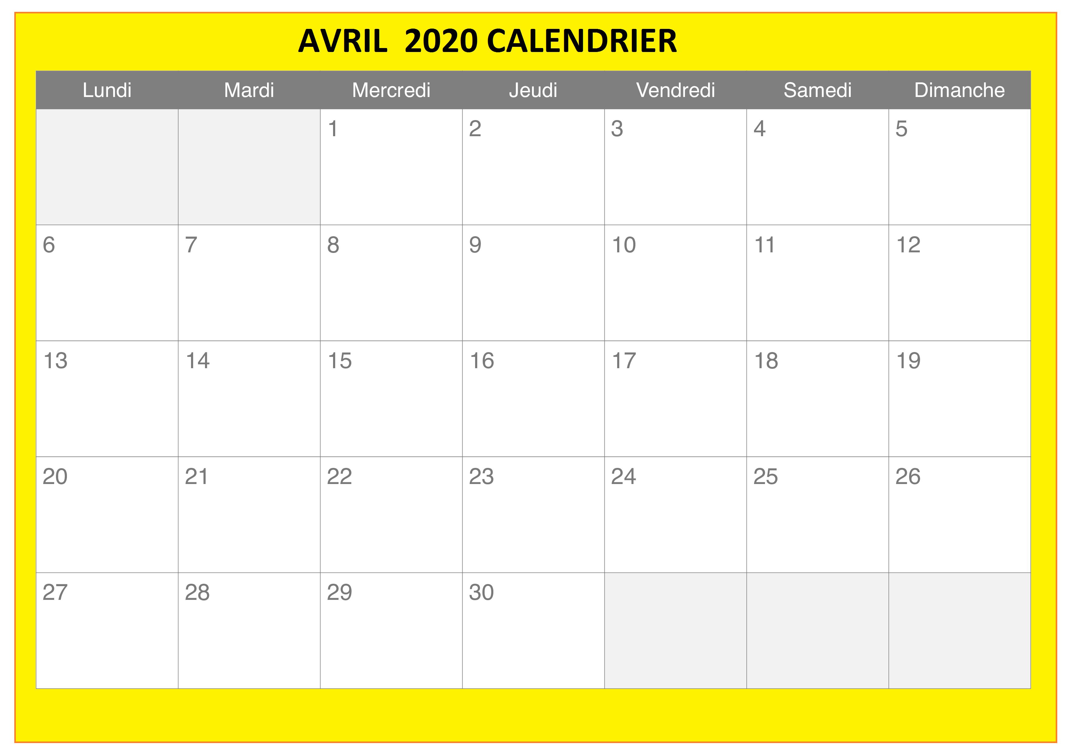 calendrier en Avril 2020