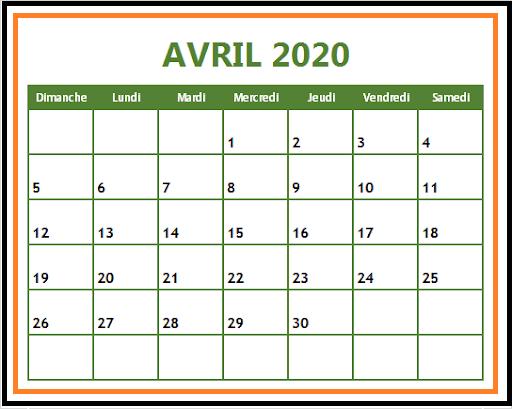 Calendrier Avril 2020 jours férié
