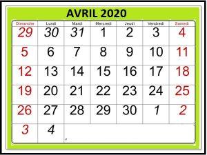 Calendrier Avril 2020 Vacances à Imprimer