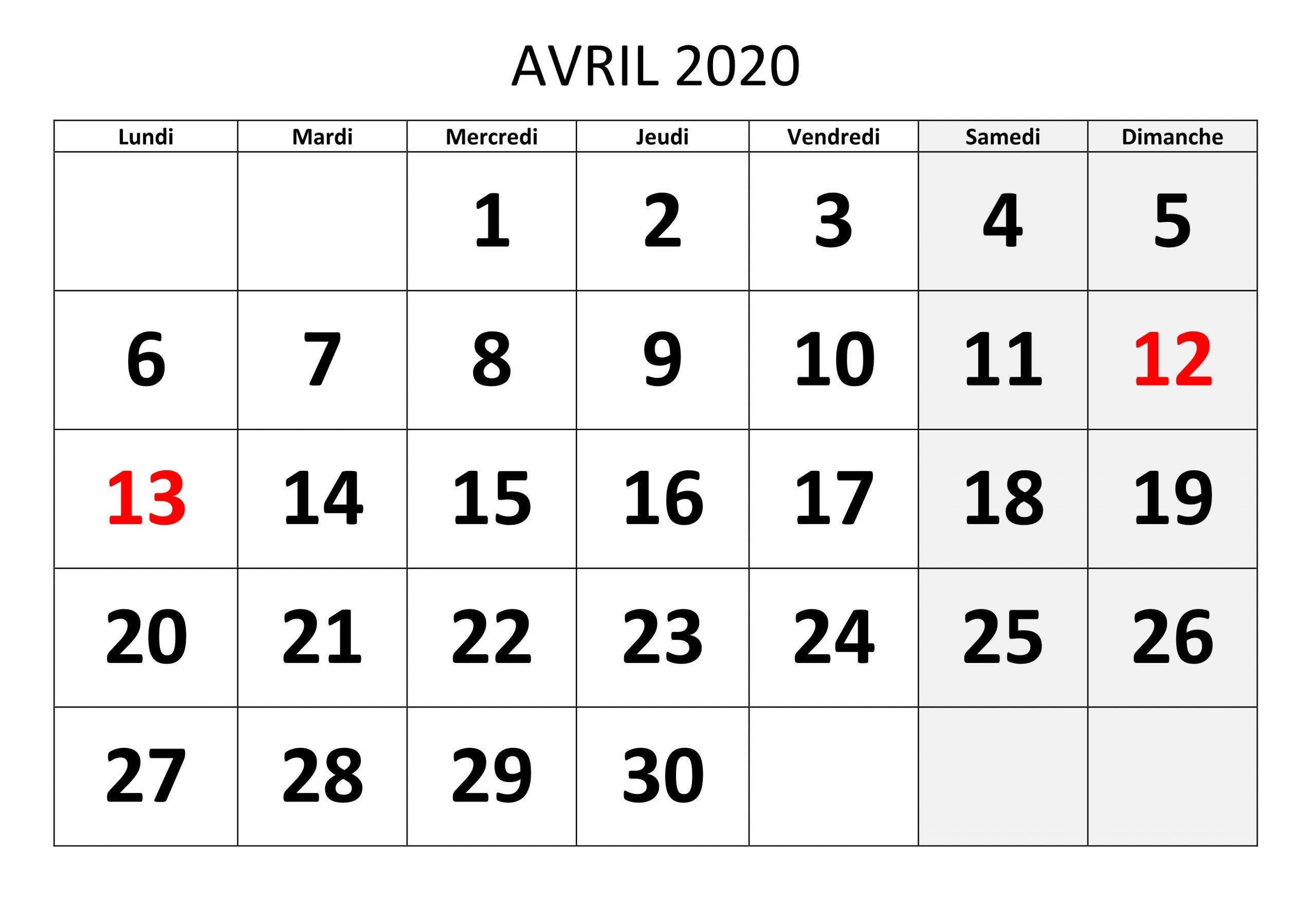 Calendrier Avril 2020 Mensuel