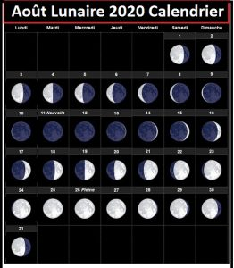 Calendrier lunaire Août 2020 Rustica