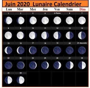 Calendrier lunaire Juin 2020 Rustica