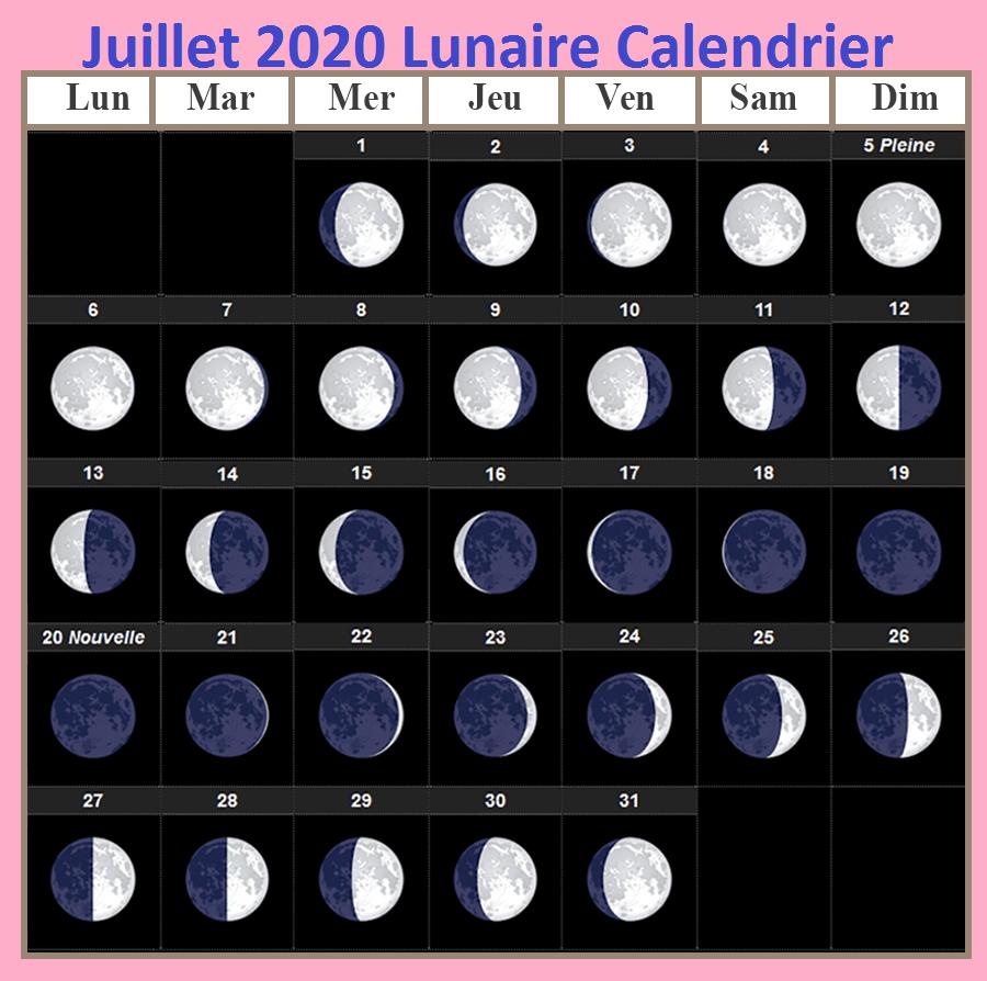 Calendrier lunaire Julliet 2020 Gerbeaud