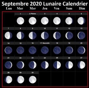 Calendrier lunaire septembre 2020 Rustica