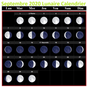 Calendrier lunaire septembre 2020 Potager
