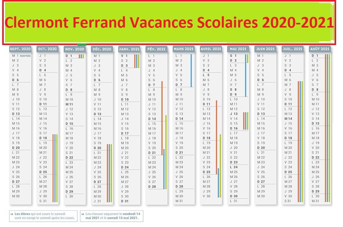 Clermont Ferrand Calendrier scolaire 2020-2021 à Imprimer