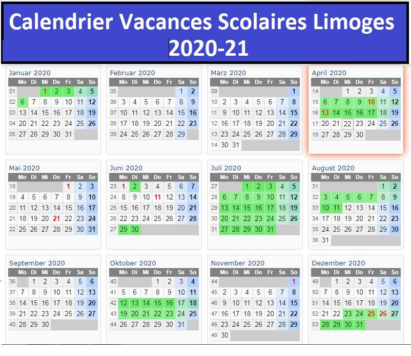 Limoges Calendrier scolaire 2020-2021 à Imprimer