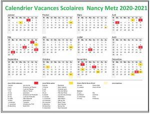 Nancy Metz Calendrier scolaire 2020-2021 à Imprimer