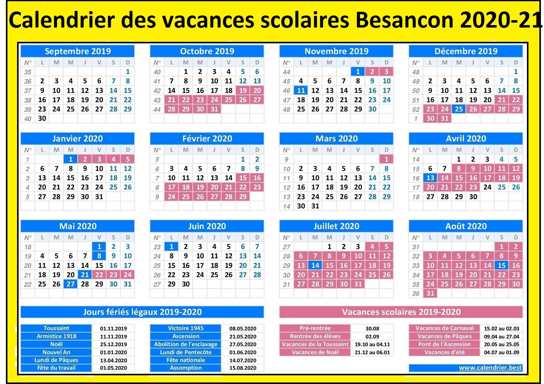 Besancon Calendrier scolaire 2020-2021 à Imprimer