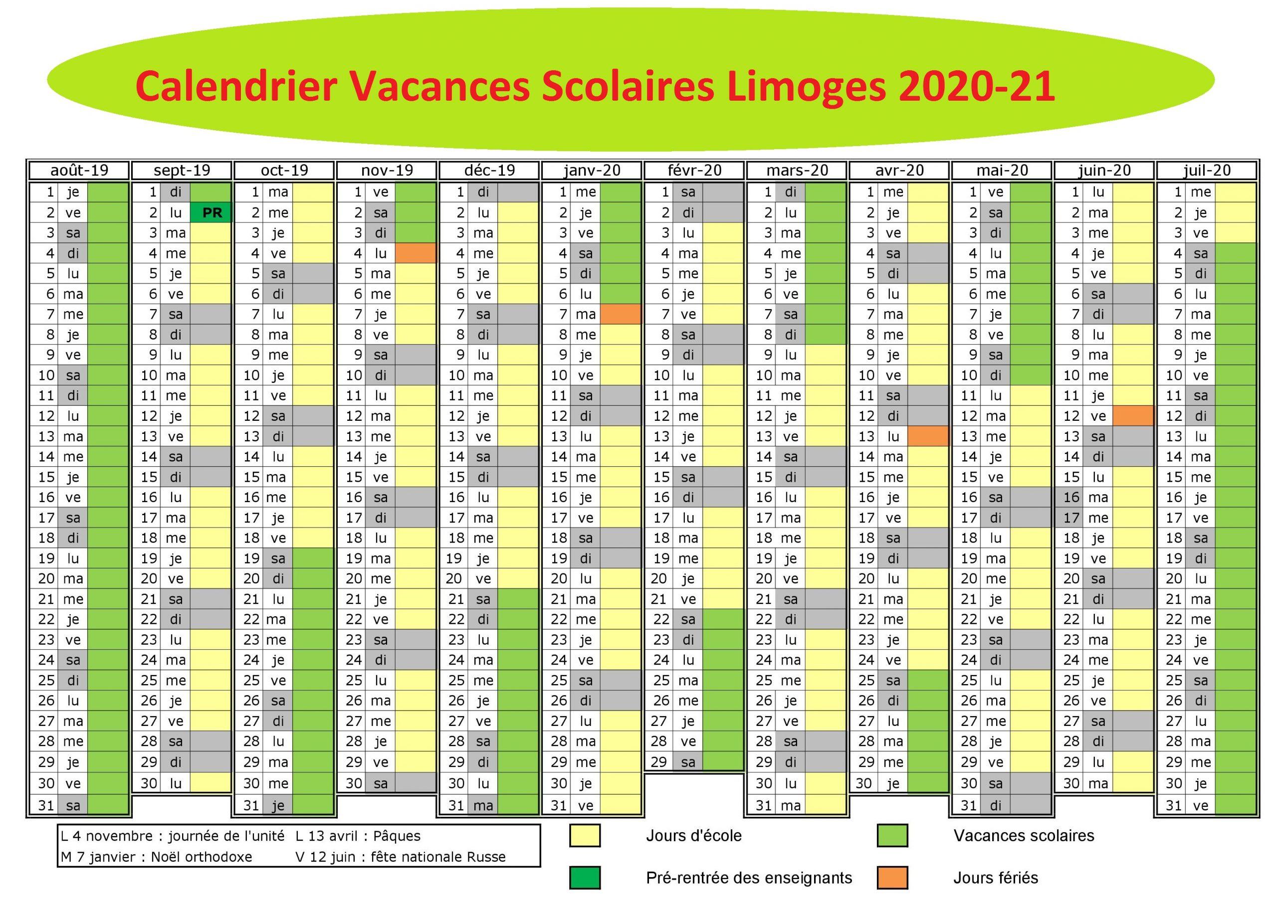 Vacances Scolaires 2019 et 2020 Limoges