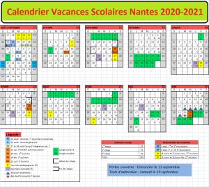 Nantes Calendrier scolaire 2020-2021 à Imprimer