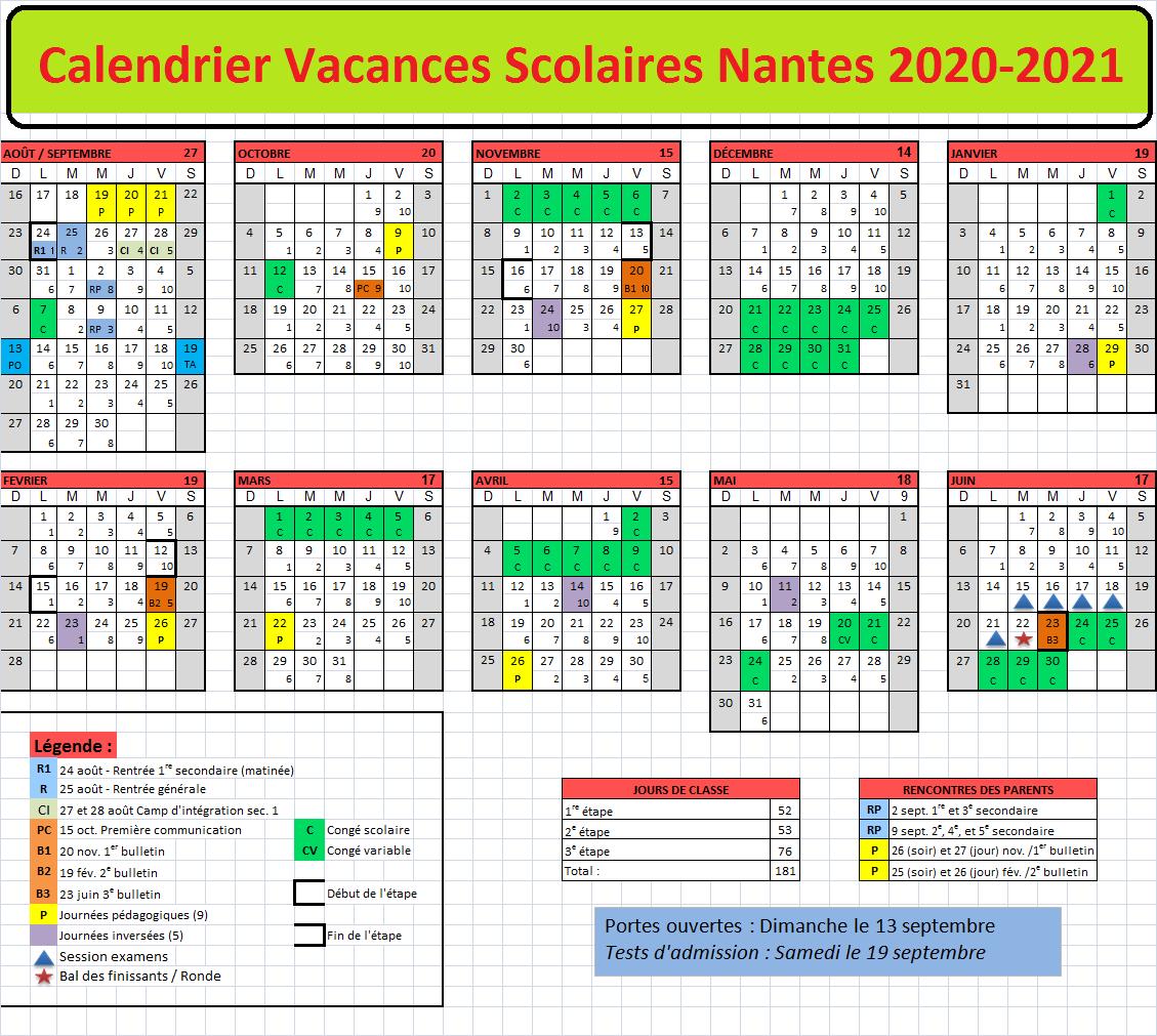 Vacances Scolaires Nantes 2020 2021 [Excel,Word,Pdf] | Calendrier 2020