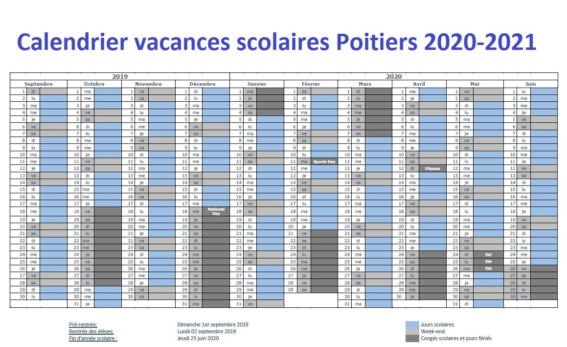 Dates Calendrier Vacances Scolaires Poitiers 2020