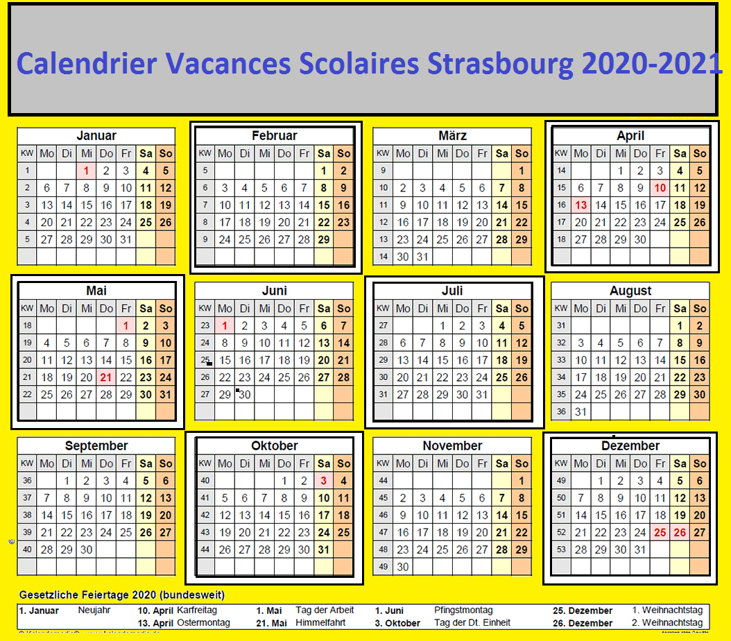 Strasbourg Calendrier scolaire 2020 2021 à Imprimer | Calendrier 2020