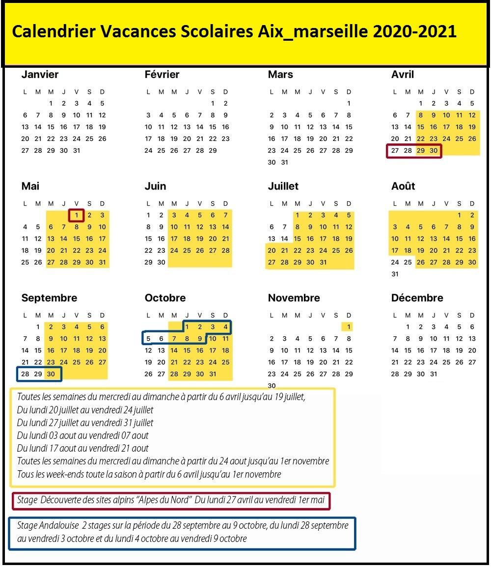 calendrier vacances scolaires Aix Marseille 2020 et 2021 zone c