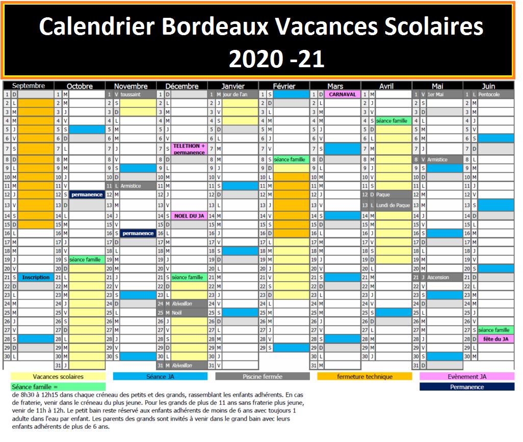 Calendrier Scolaire 2021 Bordeaux Bordeaux Calendrier Vacances Scolaires Zone 2020 21 | Calendrier 2020