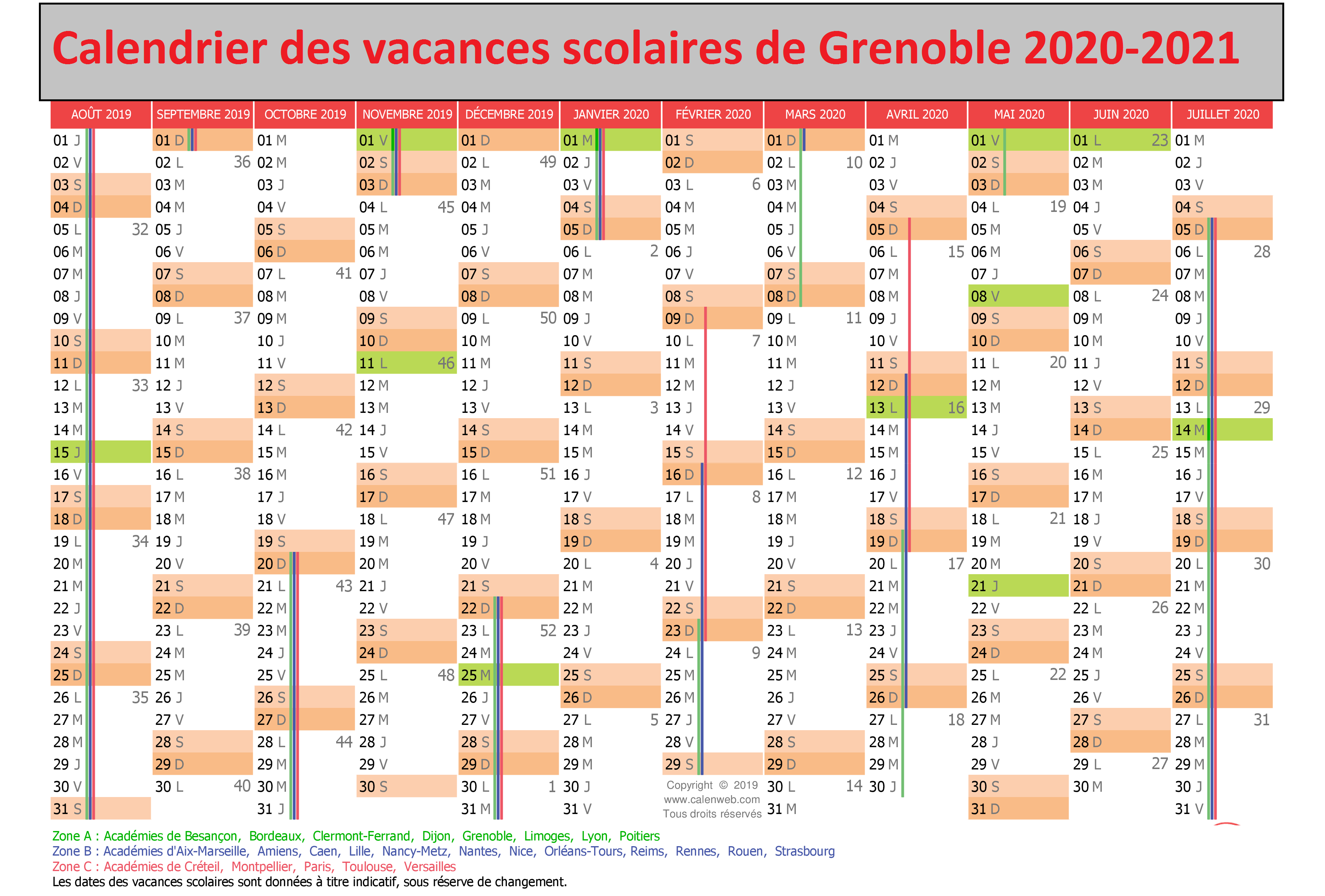 Dates Calendrier Vacances Scolaires 2020 Grenoble