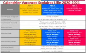 Vacances Scolaires 2019 et 2020 Lille