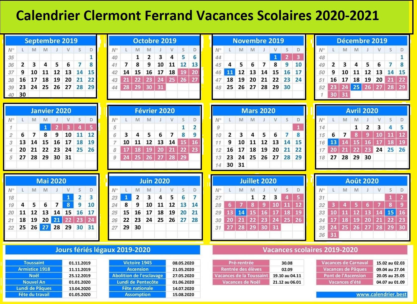Clermont Ferrand Vacances Scolaires 2020-2021