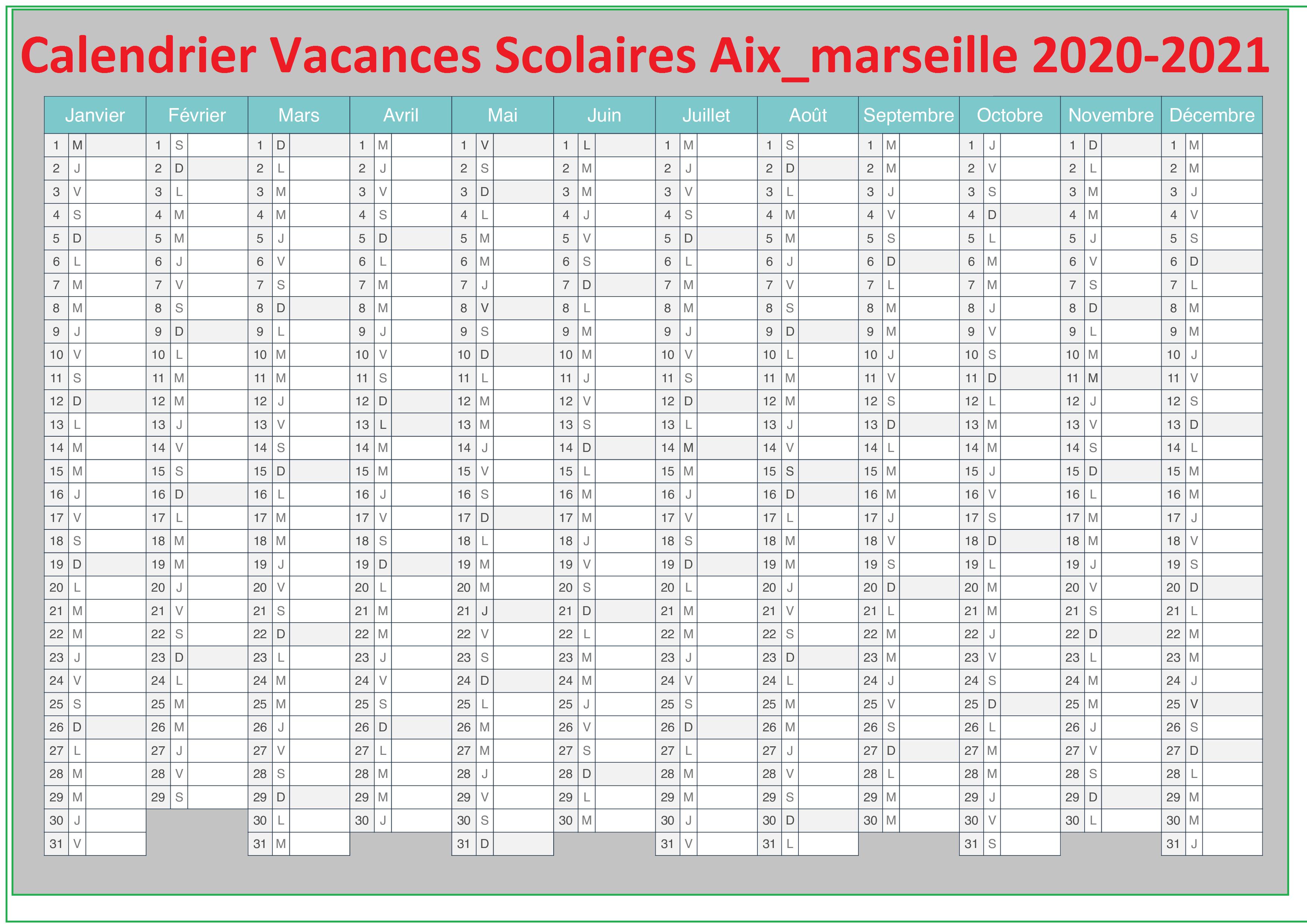 Calendrier Vacances Scolaires 2020 Academie De Aix Marseille