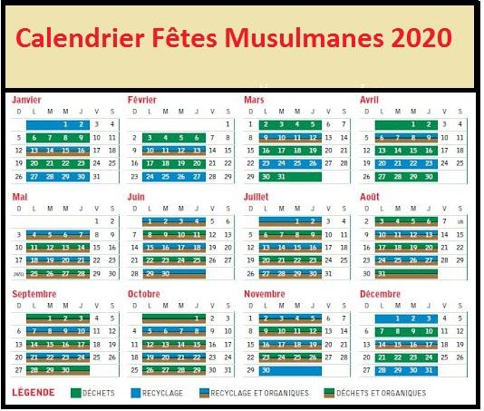 Dates des fêtes Musulmanes 2020