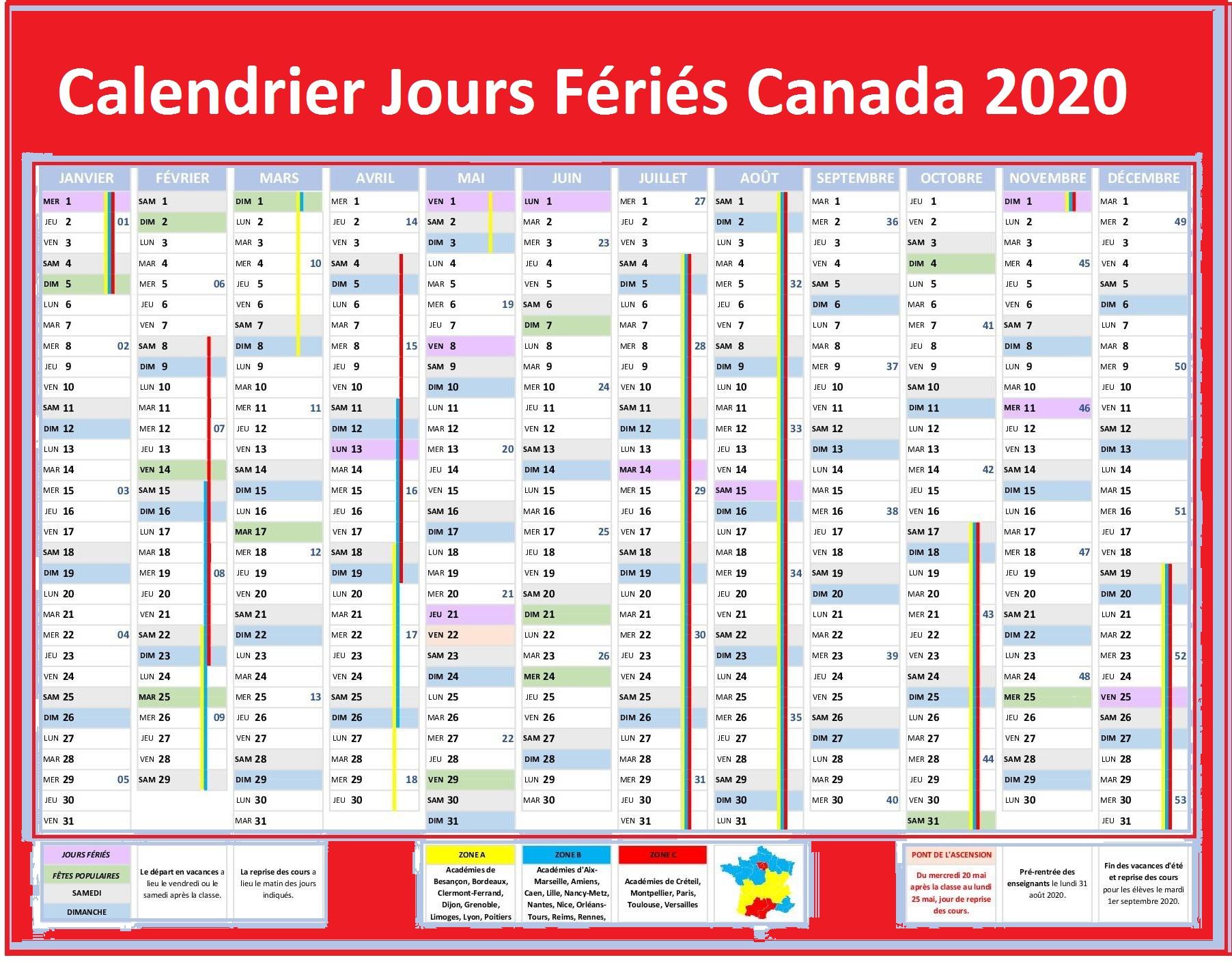 Les Jours Fériés De Canada 2020