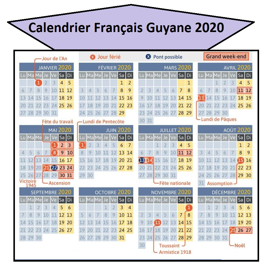 Calendrier 2020 Français Guyane Avec Jours Feries