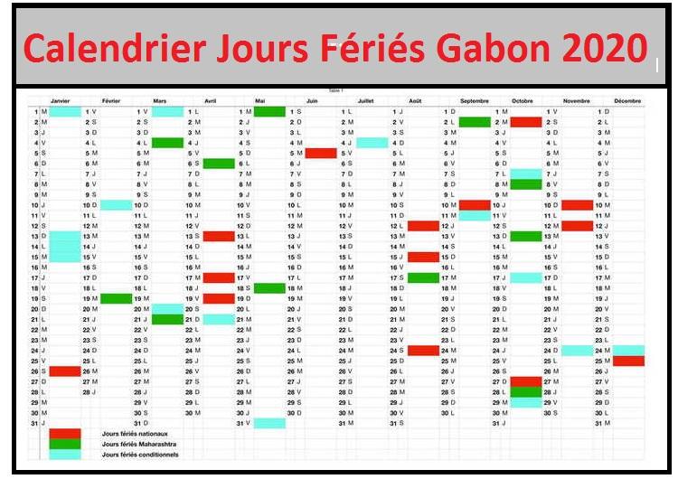 Calendrier 2020 Gabon Avec Jours Fériés A Imprimer