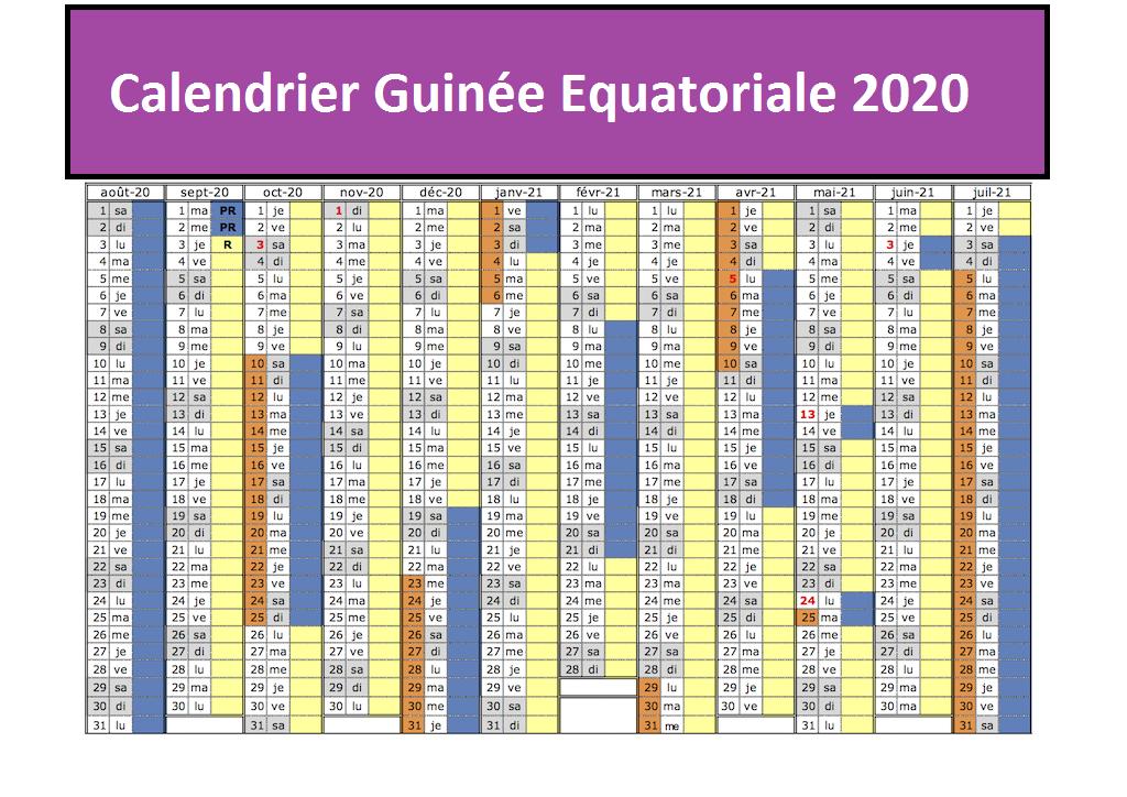 Calendrier 2020 Guinée équatoriale Pdf
