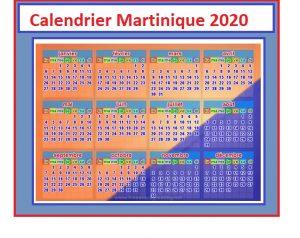 Calendrier 2020 Martinique Avec Jours Feries