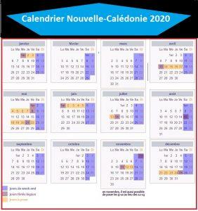 Calendrier Vacances 2020 Nouvelle-Calédonie