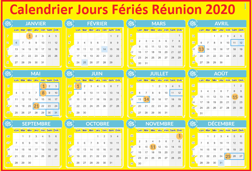 Calendrier Réunion Avec Jours Fériés 2020