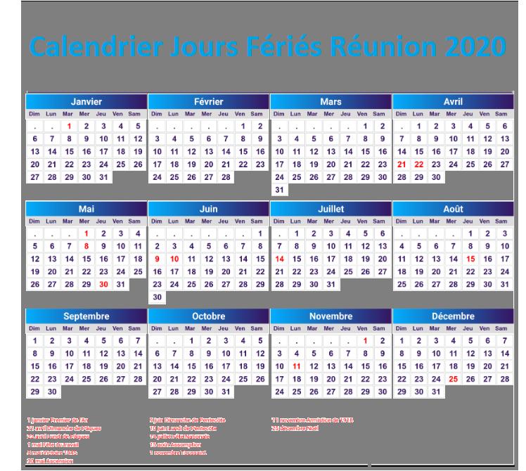 Calendrier Jours Feries Réunion 2020 Et 2021