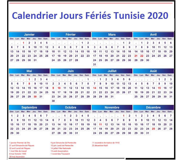 Calendrier 2020 Tunisie Avec Jours Fériés Pdf