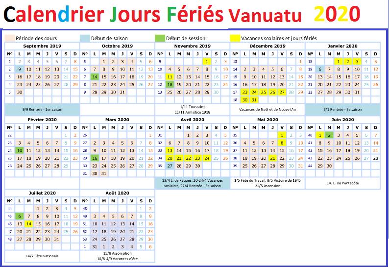 Calendrier Vanuatu Avec Jours Fériés 2020