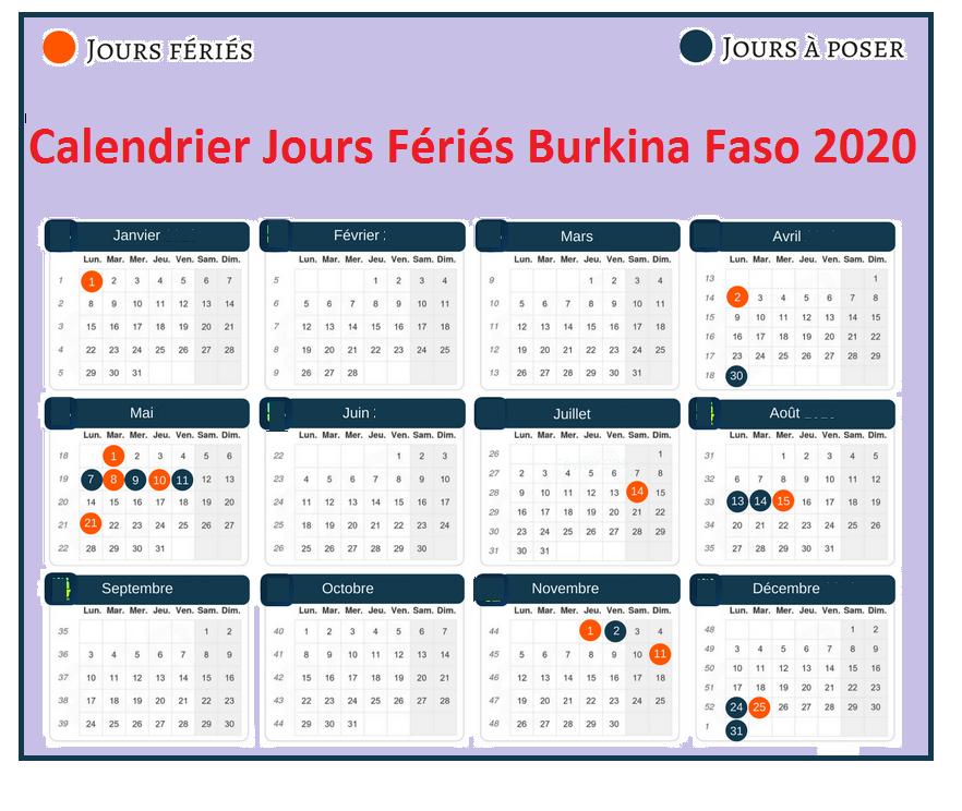 Calendrier Jours Feries Burkina Faso 2020 Et 2021
