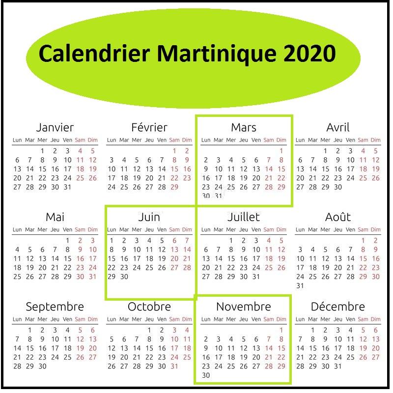 Calendrier Scolaire Martinique 2020