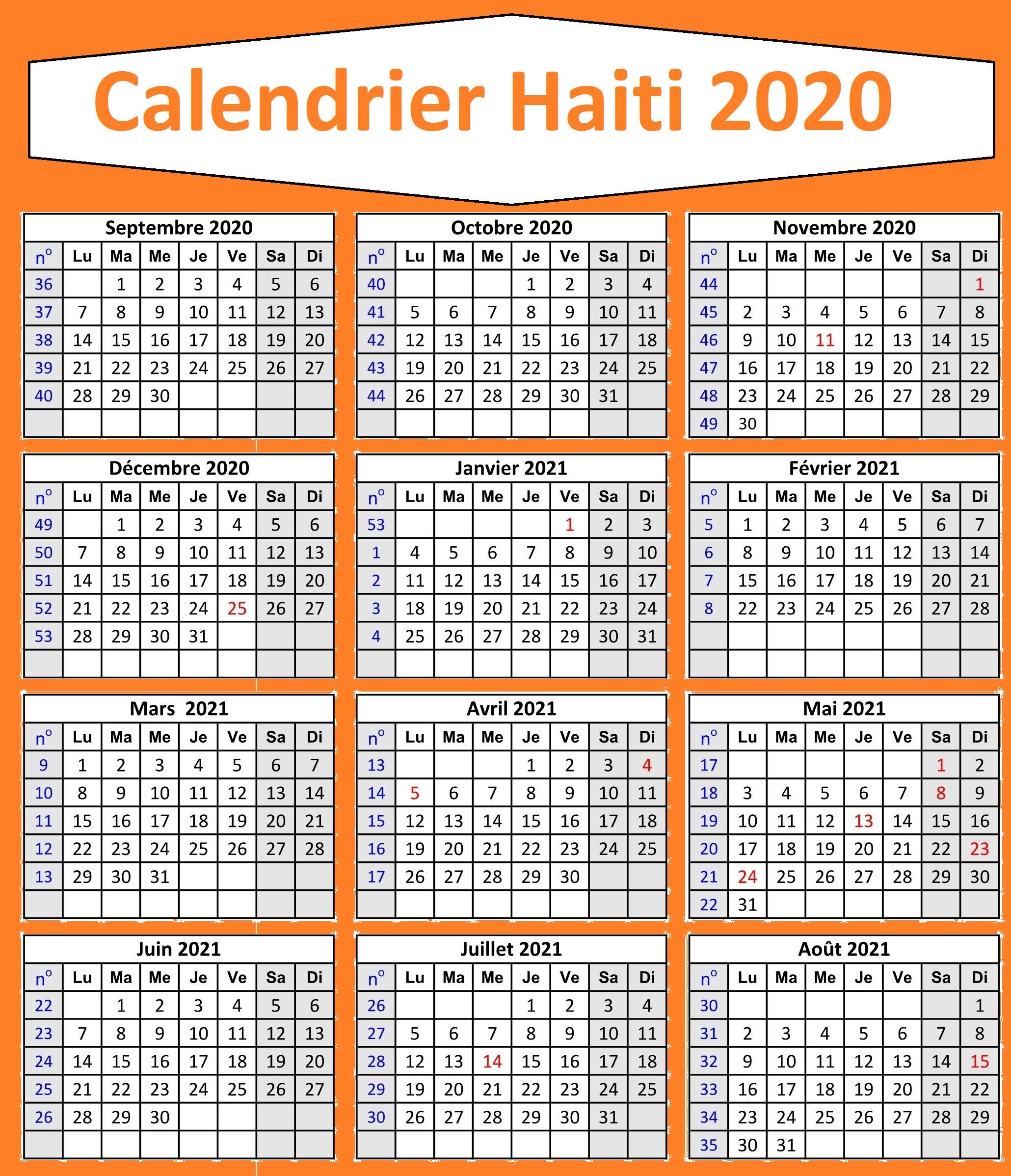 Calendrier 2020 Journée des mères haïtiennes