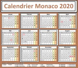 Calendrier Amaf Monaco 2020