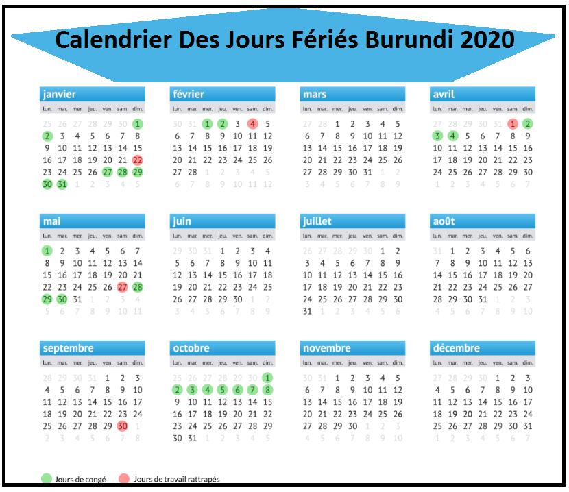 Jours Fériés Burundi 2020 Excel