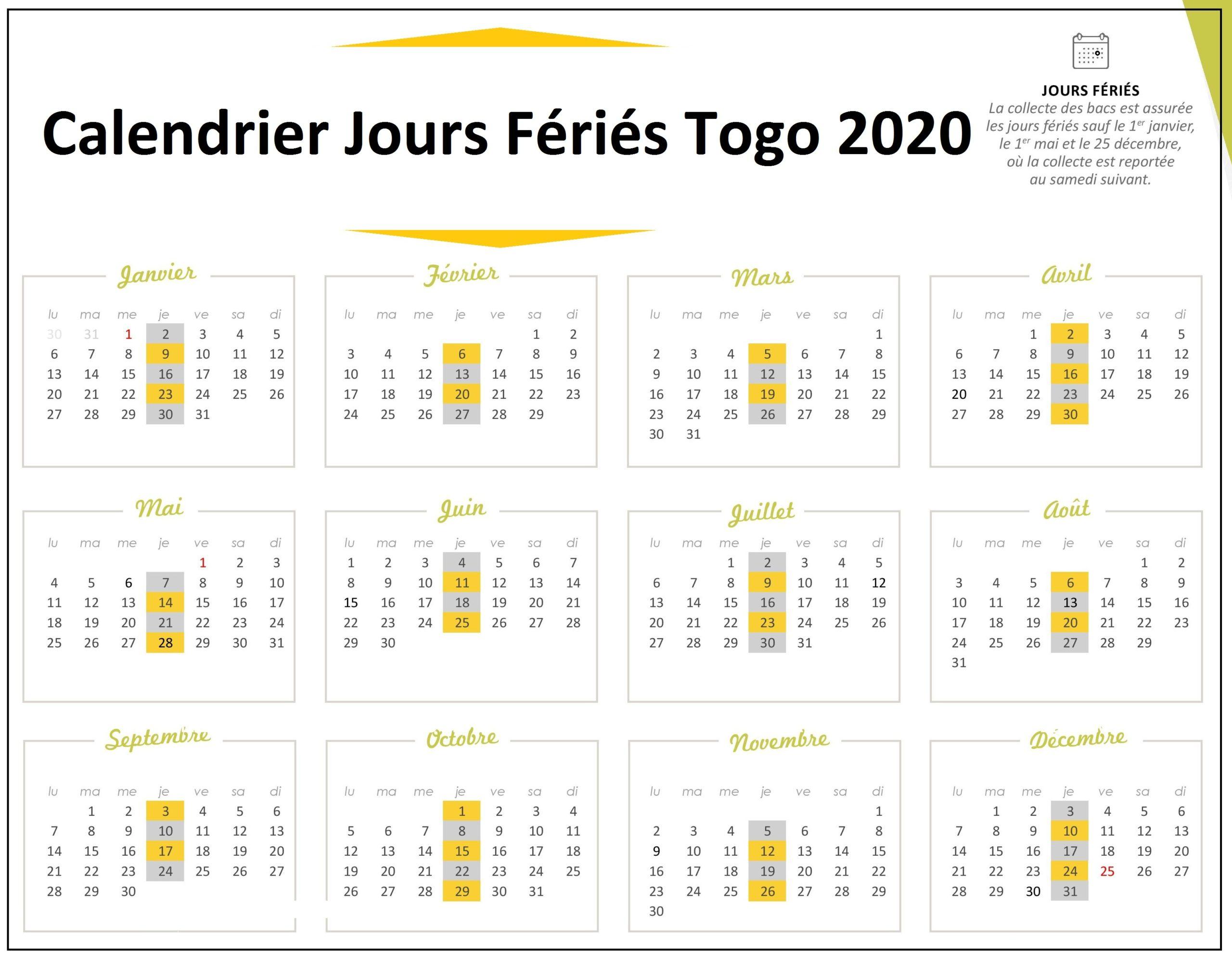 Calendrier 2020 Togo Avec Jours Fériés A Imprimer
