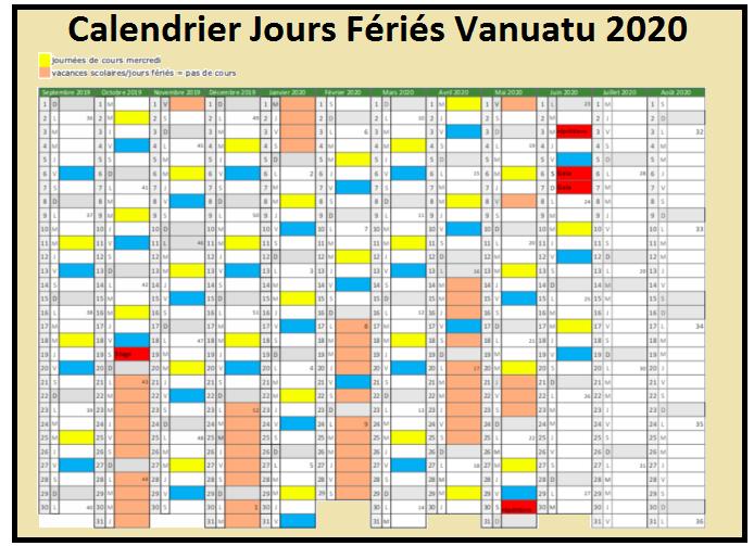 Calendrier Jours Feries Vanuatu 2020 Et 2021