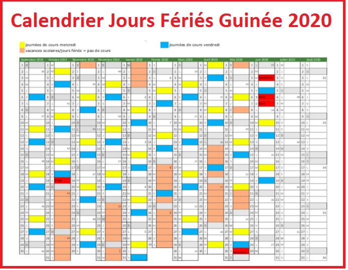 Jours Fériés Guinée 2020 Excel