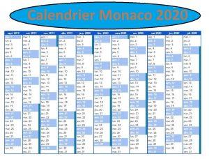 Calendrier Jours Feries Monaco 2020