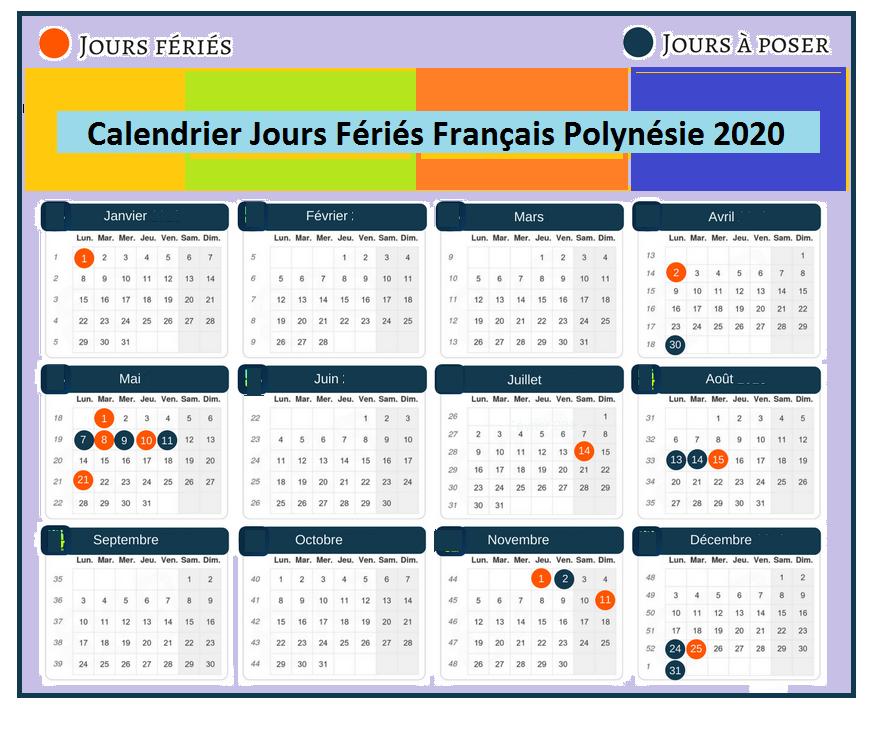 Calendrier Français Polynésie Avec Jours Fériés 2020