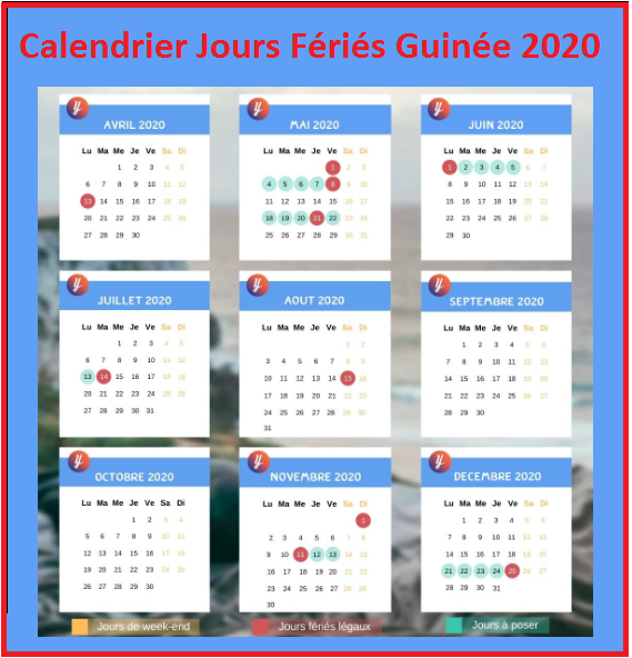 Calendrier Guinéens Avec Jours Fériés 2020