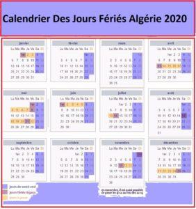 Calendrier 2020 Algérie Avec Jours Fériés A Imprimer