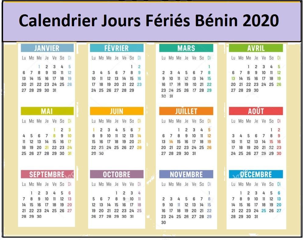 Calendrier Des Jours Fériés Au Bénin 2020